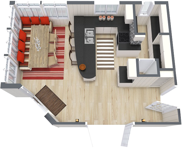 RoomSketcher 3D Floor Plan Eat In Kitchen Layout   Kosing ...